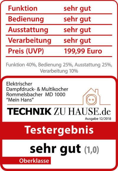 Testlogo Sehr Gut von Technik zu Hause.de