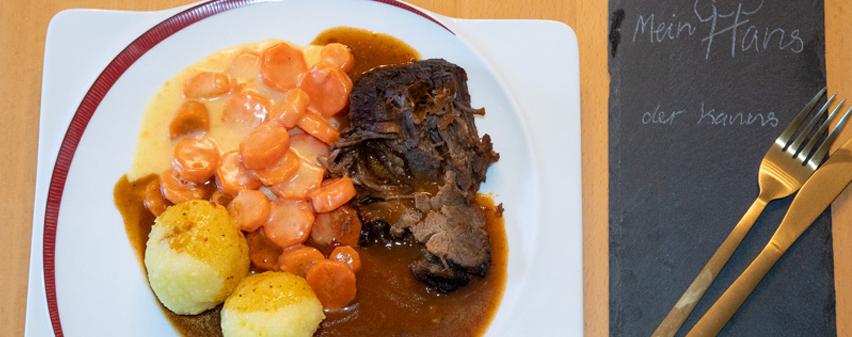 Sauerbraten histaminarm mit Knoedel und Karotten