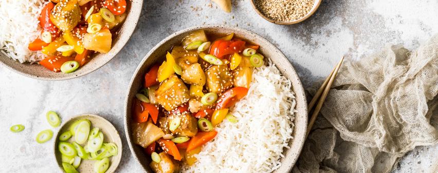 Tofu suess-sauer mit Reis - zubereitet im Multikocher MeinHans